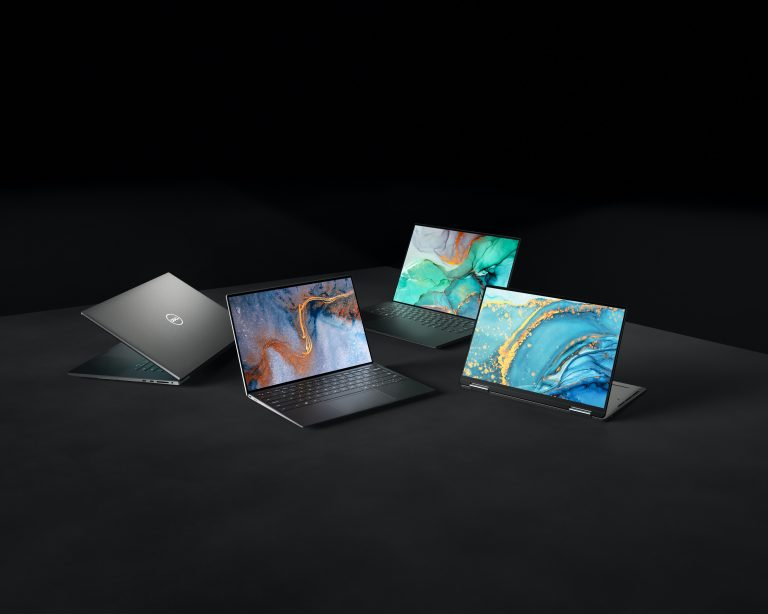 4 laptops with black background